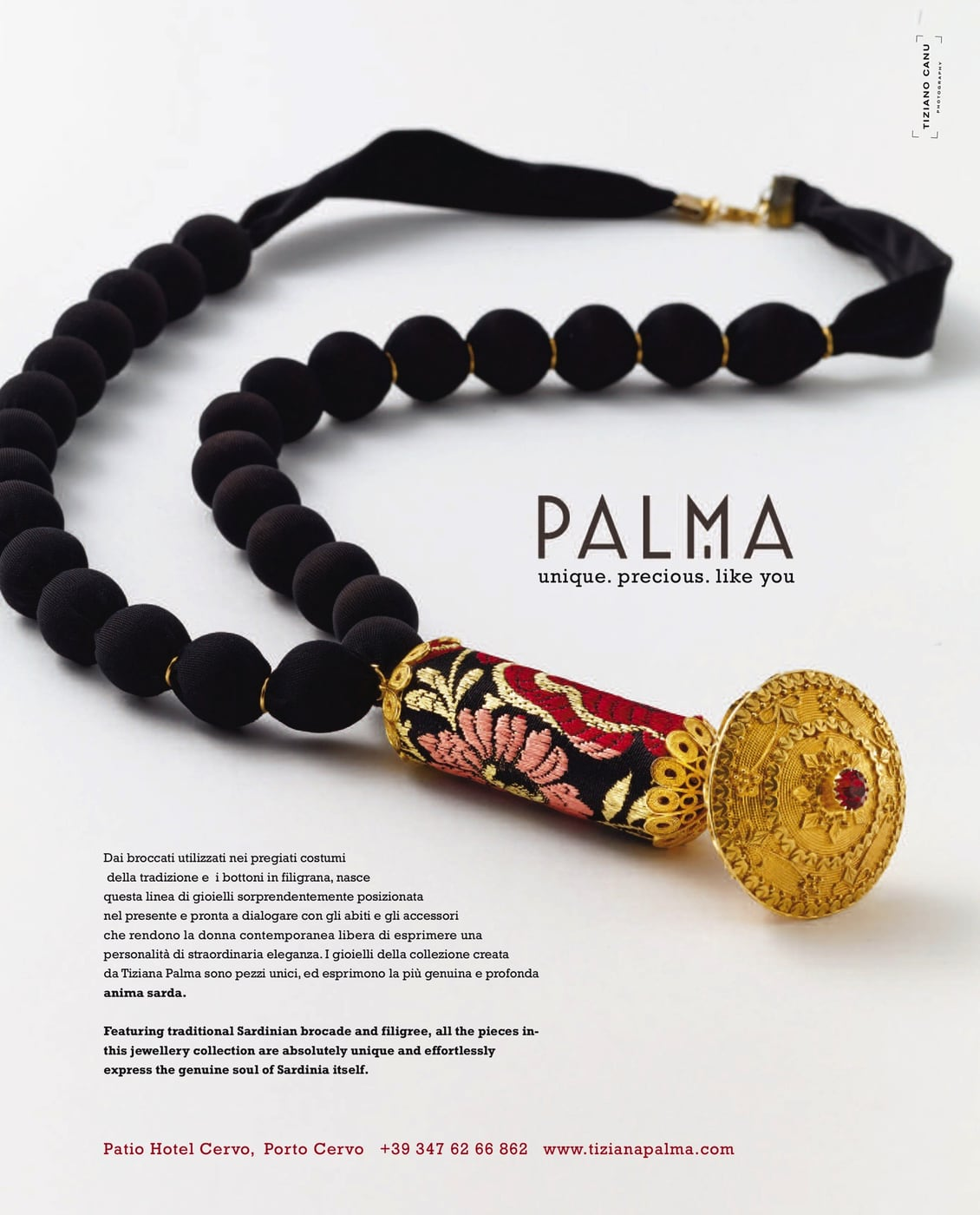 collana con gioiello pendente in filigrana dalle linee tradizionali della Sardegna